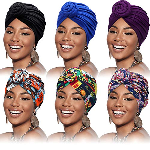 6 Pieces Women African Turban Flower Knot Pre-Tied Bonnet Beanie Cap Headwrap (Simple Patterns)