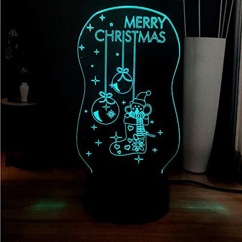 Sanzangtang Led-nachtlampje, 3D-7 kleuren, afstandsbediening, acrylpaneel, schattige sokken, bel, illusie, babyslaap, sfeer, naast tafel, nachtlampje, vakantie, kinderen, cadeaulampje