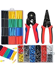 MINETY 4pcs tool set Ferrule Crimping Tool Kit AWG23-7 Self-adjustable Ratchet Wire Single Die and Wire stripper Plier with 1200PCS Wire Ferrules Connectors Terminals Kit and 530pcs Heat shrink tube