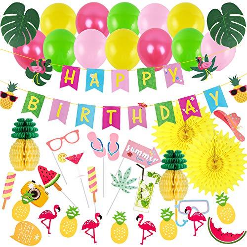SUNBEAUTY Decoración de cumpleaños Happy Birthday Garland Flamingo Tropical Leaves Piña Decoración de fiesta hawaiana (2)