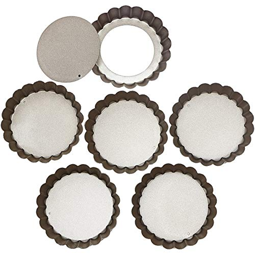 Set of Six Loose Base Fluted Tart Tin