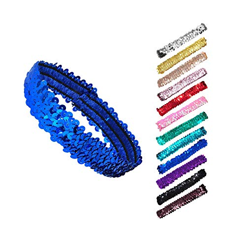 Mandala Crafts Stretch Elastic Sequin Headband, Sparkle Glitter Fashion Head Band 12 Pack Set for Sports, Dance, Party, Women, Girls, Babies (Assorted)