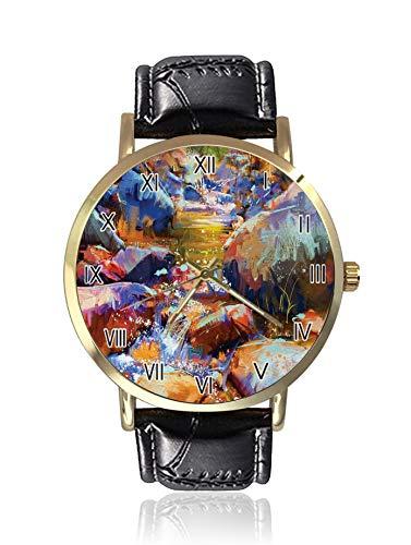 Herren Armbanduhr, abstrakt, Wasserfall mit Steinen, im Fluss, sportliche Uhr