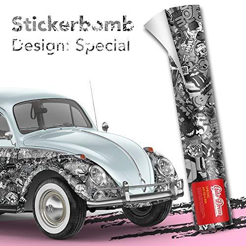Alle Designs- alle Größen: Stickerbomb Auto Folien glänzend oder matt - Marken Sticker Bomb Logos- JDM Aufkleber (50x150cm, SD schwarz weiß glänzend)