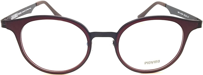 Piovino New Soltax Eye Glasses Frame Metal and Ultem 5605 1610M Wine Brown