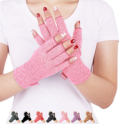 Arthritis Compression Gloves Relieve Pain from Rheumatoid, RSI,Carpal Tunnel, Hand Gloves Fingerless for Computer Typing and Dailywork, Support for Hands and Joints (L, Pink)