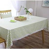 市松模様の縞模様のテーブルクロス/コットンの麻/洗える、小さな国の台所ダイニングテーブルカバーに適して (色 : A, Size : 125x125cm)