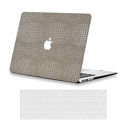 AUSMIX Case for MacBook Pro 13 Inch Case 2020 Cover M1 A2338 A2251 A2289 A2159 A1989 A1706 A1708 Case, Premium Leather Hard Case & Keyboard Cover for Mac Pro 13 inch, Leather Silver