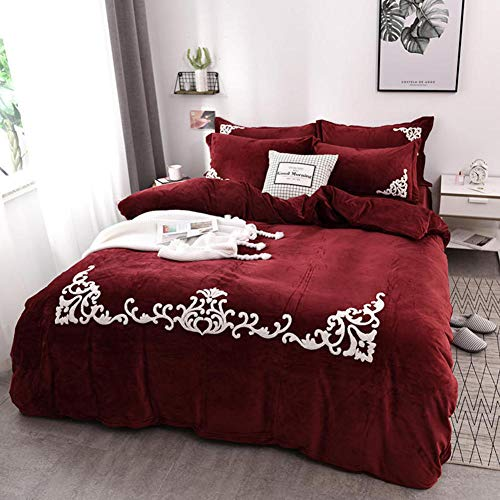 JXBoos Nordic Royal Solid Color Duvet Cover Set, Crystal Velvet Bedding Sets Breathable Quilt Cover 4pcs Bedlinen-red 220x240cm(87x94inch)