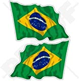 BRASILIEN brasilianische Wehende Fahne Brasilien 75mm Auto & Motorrad Aufkleber, x2 Vinyl Stickers