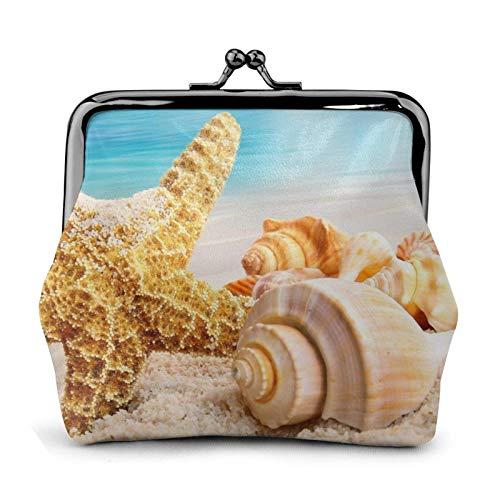 Monedero de playa con diseño de concha de mar y océano, bolsa pequeña para cambio de piel, regalo para mujeres