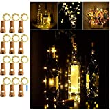 Adecorty Wine Bottle Lights with Cork - Silver Wire Cork Lights for Bottle 12 Pack 6.5ft...
