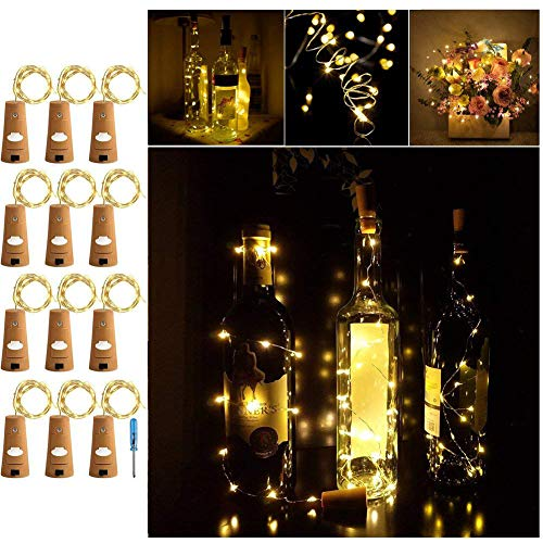 Adecorty Wine Bottle Lights with Cork - Silver Wire Cork Lights for Bottle 12 Pack 6.5ft 20 LED Bottle Lights Battery Powered Christmas String Lights for Party Halloween Wedding Christmas (Warm White)