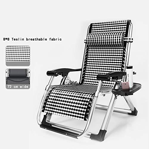 Chaises longues ZR- Chaise Zero Gravity, Chaise Pause Déjeuner À La Maison, Vieille Chaise Pliante, Chaise Adulte, avec Coton Amovible (Couleur : Silver Frame+Pearl Cotton)