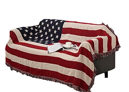Icegrey Copriletto Coperta con Nappe Design Unico per Divano Letto Copriletto Copertura Copriletto Tappeto Bandiera Americana 250x220cm