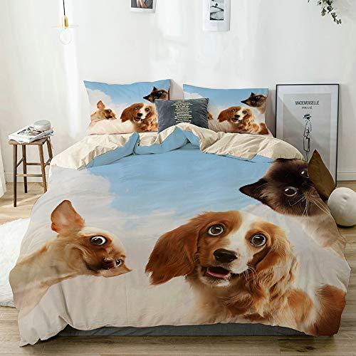 KOSALAER Bettwäsche Set,DREI Haustiere nebeneinander auf hellem Hintergrund,3 Teilig Bettbezüge Mikrofaser Bettbezug 220 x 240cm mit Reißverschluss und 1 Kissenbezug