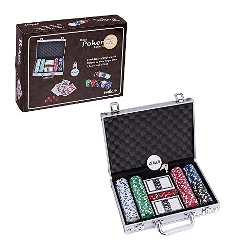 Smilejoy 200PCS Casino Poker Chips Set,11.5 Gram for Texas Holdem Blackjack Gambling with Aluminum Case