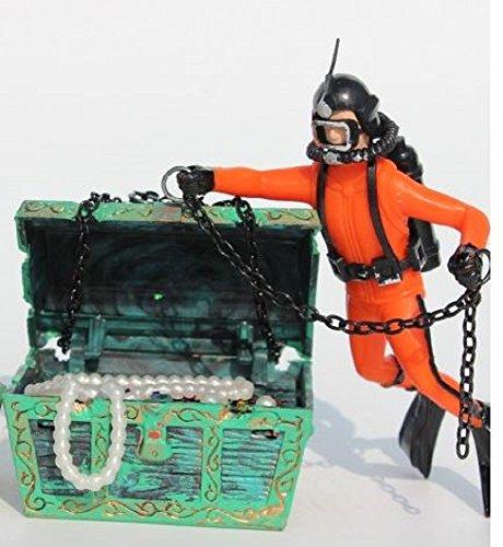 宝箱 と ダイバー アクアリウム 水槽 オーナメント  エアーポンプ 接続 可 オブジェ レイアウト 内装 熱帯魚 観賞魚 (オレンジ)