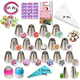 RFAQK - 50 Pcs Russian Piping Tips Set- 15 Numbered, Easy to Use Icing Nozzles - 2 Leaf Tips - 2...