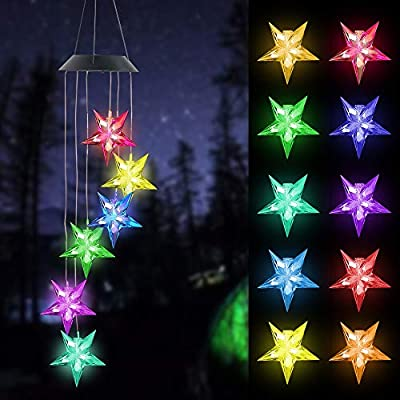 FUNPENY Solar Wind Chimes Star, Solar Mobiles Hanging Color Changing LED Lights Outdoor Waterproof Wind Chime for Garden Holiday Decoration, Friendship Wind Chimes, Gift for Mom