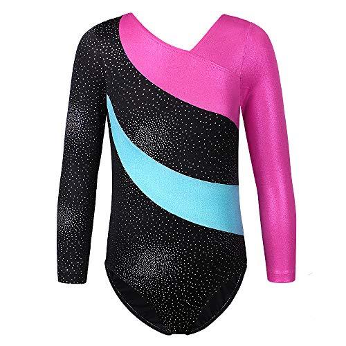 TFJH E Sparkle Leotard for Girls Gymnastics Athletic Dancing Clothes 138 Black 100