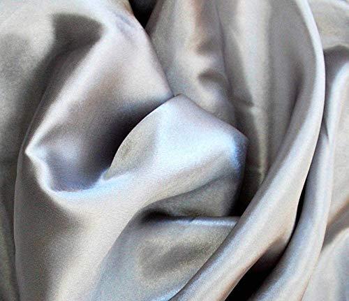 Material de tela de satén sedoso, color dorado, plateado, rojo, negro, blanco, 1, 3, 5, 10, 150 cm de ancho, tela de lujo de calidad por Accessories Attic, plata, 1/2 Metre