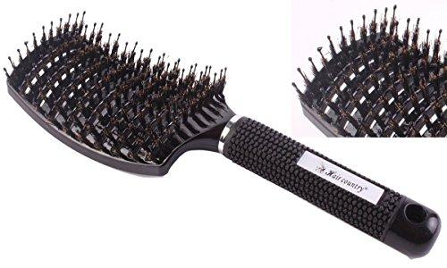 Lot de 2 brosses professionnelles de coiffeur incurvées et ajourées, brosses de salon de coiffure pour brushing, brosses à poils de sanglier, antistatiques.