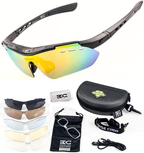 FreeMaster - Gafas de ciclismo con lentes polarizadas, gafas de sol para deporte, antiniebla, protección UV400, para conducir motocicletas, bicicletas de montaña, senderismo, negro