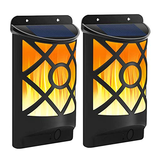 FLOWood Solarlampen für außen Solarleuchten für außen Solar Gartenleuchte Solar Wandleuchte realistischer Flammeneffekt wetterfest IP65 ABS 2 Stück