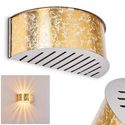 Lámpara de pared - Aplique de pared Pesaro de vidrio dorado - lámpara para dormitorio - pasillo - Salón- Se crea un efecto de luz en el pared a través la ranuras de la pantalla