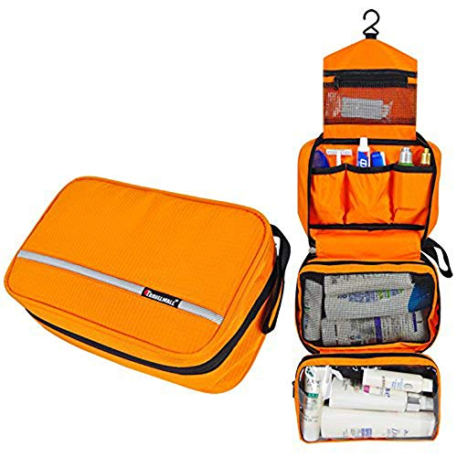 MONSTINA Travel Toiletry Bag Cosmetic Organizers with Hanging Hook Use in Hotel,Bathroom(Orange)