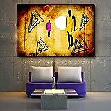 KWzEQ Cartel geométrico escandinavo Vintage de Pintura al óleo sobre Lienzo con Caracteres africanos Vintage,Pintura sin Marco,75x112cm