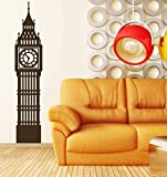 Big Ben Clock Wall Decal   London England Tower Vinyl Decor   Sticker Decoration for Office, Home   Black, White, Gray, Blue, Red, Green, Brown, Other Colors   Small, Large Sizes