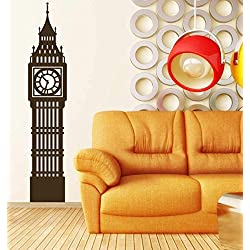Big Ben Clock Wall Decal | London England Tower Vinyl Decor | Sticker Decoration for Office, Home | Black, White, Gray, Blue, Red, Green, Brown, Other Colors | Small, Large Sizes
