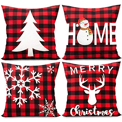 Joy Bang Christmas Pillow Covers 18 x 18 Set of 4 Christmas Throw Pillow Covers Black and Red Buffalo Plaid Farmhouse Pillow Cover Xmas Holiday Reindeer Snowman Pillow Cases for Home Sofa Couch