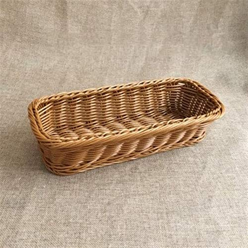 Xuulan XIanglan-cestas para Pan, Imitación ratán Cesta de plástico, cestas de Mimbre Rectangular vajilla, Cuchillos Forks Palillos de Pan tortas de Frutas,para Viajes y hogar