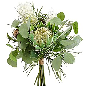 20″ Tropical Silk Banksia Protea Flower Bouquet -Green/White (Pack of 2)