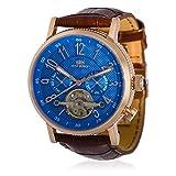 Montre Jost Burgi Homme Automatique - 42 mm - Cadran Bleu - Bracelet Cuir Marron - HB4B13C4BC2