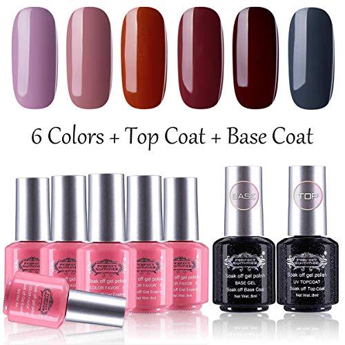 Perfect Summer Gel Nail Polish Set 6 Colors Gel Nail Varnish with Top Coat Base Coat Soak Off UV LED Manicure Nail Art Gift Set 8ML 0102