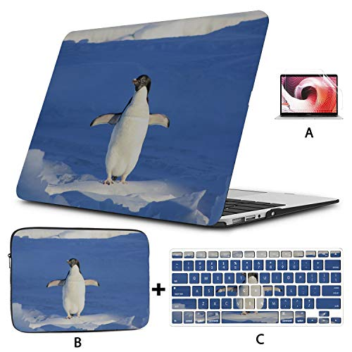 MacBook Pro 2017 Cover Penguin Funny Blue Water Animal MacBook Pro 2016 Case Hard Shell Mac Air 11'/13' Pro 13'/15'/16' with Notebook Sleeve Bag for MacBook 2008-2020 Version