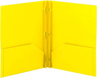 Smead Poly Two-Pocket Folder, Three-Hole Punch Prong Fasteners, Letter Size, Yellow, 3 per Pack (87733)