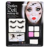 Broken Doll Halloween Makeup Kit With Eyelashes Tattoos, Paint, Sponge & Pencil...