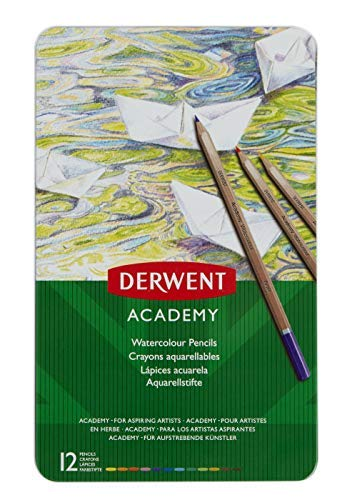 Derwent Academy Watercolor Pencils, 3.3mm Core, Metal Tin, 12 Count (2301941)