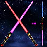 Huanchenda Light Up Saber 2-in-1 LED (3 Colors) FX Dual Swords Set with Sound (Motion Sensitive) and Realistic Handle, Light Sabers for Kids Star Wars, Galaxy War Fighters, Halloween Party