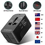 Amoner Adattatore Universale da Viaggio con 2 Porta Caricabatterie USB Adatto per più di 180 Paesi (Nero)