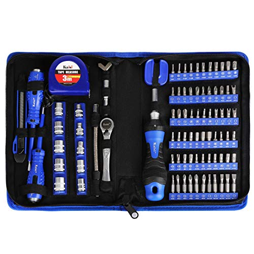 """Kaisi 87-Piece Ratcheting Screwdriver Set Ratchet Wrench Magnetic Drive Kit 67 Multi-Size Bits and 1/4"""" Drive Sockets with Portable Oxford Bag for Home Repair, Improvement, Garage. Best Tool Set Gift"""