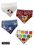 Tris&Ton quitababas pack set de microfibra suave para bebe niño niña con dibujos animados modelo pack 6, baberos bandana para bebe ajustable