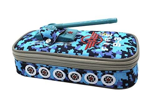 Insun Enfants Toile Trousse à crayons grande capacité pour Garçons Style de Tank Sac à stylos Papeterie Scolaire Cadeau Bleu Camouflage