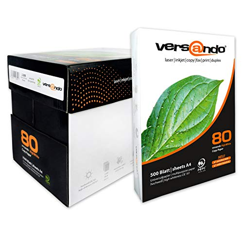 2500 Blatt Marken Kopierpapier Versando high white 80 DIN A4 80g/qm weiss Druckerpapier Papier Fax Laserpapier Universalpapier, Fotokopierpapier Seiten