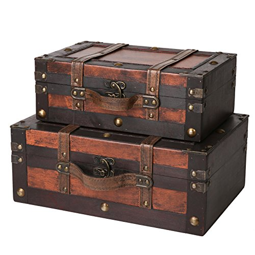 SLPR Crawford Wooden Storage Trunk (Set of 2, Wine Color) | Small Antique Wood Chest with Straps